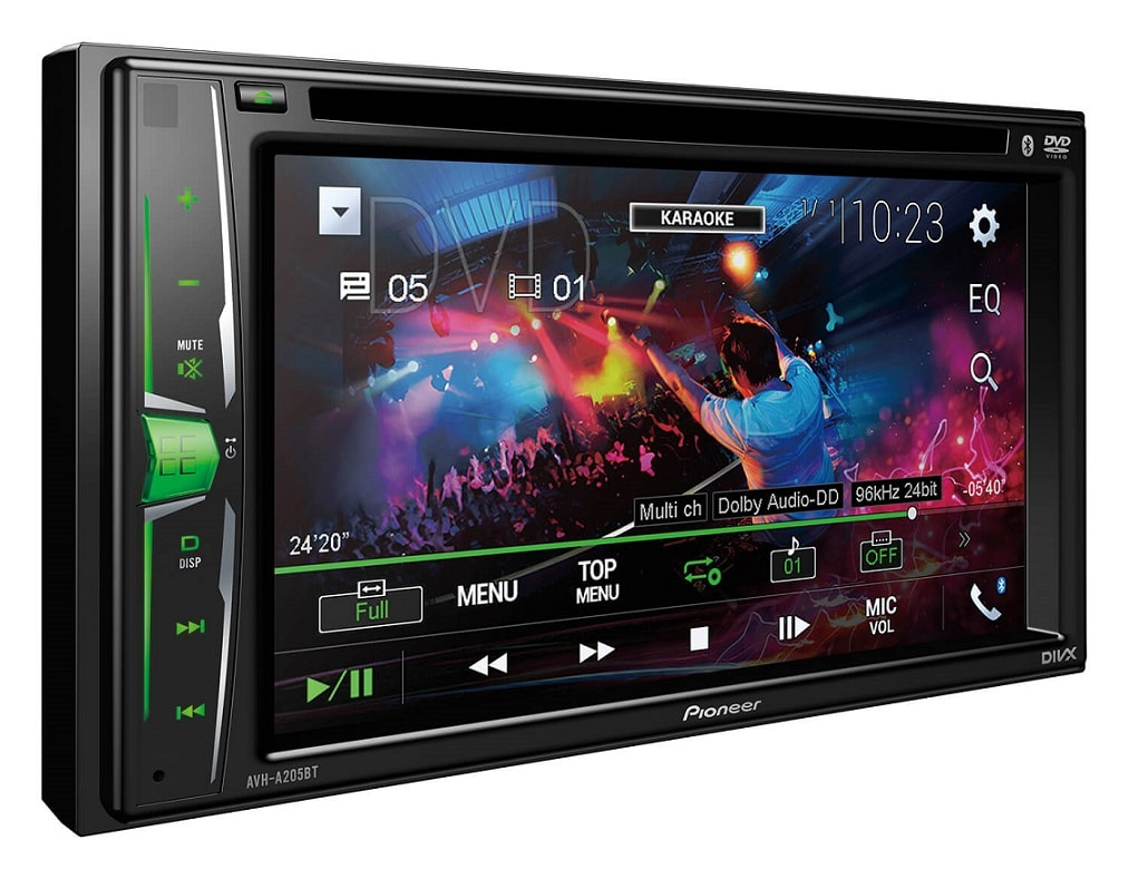 Double-DIN DVD Multimedia AV Receiver with 6.2 WVGA Touchscreen Display